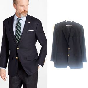 Brooks Brothers BrooksEase Gold Button Wool Blazer